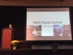 Leslie Garcia, a Sacramento State student and San Rafael High School graduate, speaks at the Marin Equity Summit