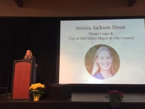 Mill Valley Mayor, Cut50, Dream Corps Jessica Jackson Sloane speaks at the Marin Equity Summit